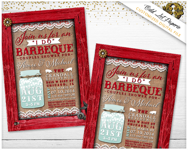 Mason Jar I Do BBQ Bridal Shower Invites