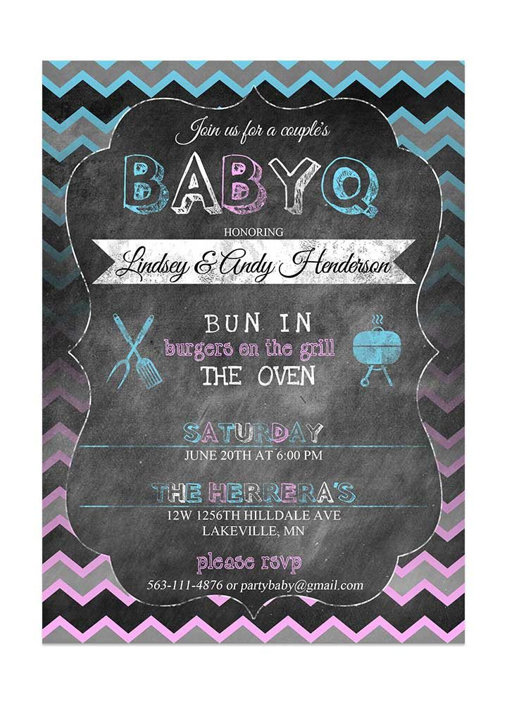 Gender Neutral Chalboard Baby Shower Invitation