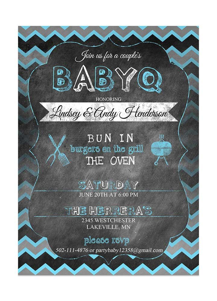 Chevron Chalkboard Boy Baby Shower Invite