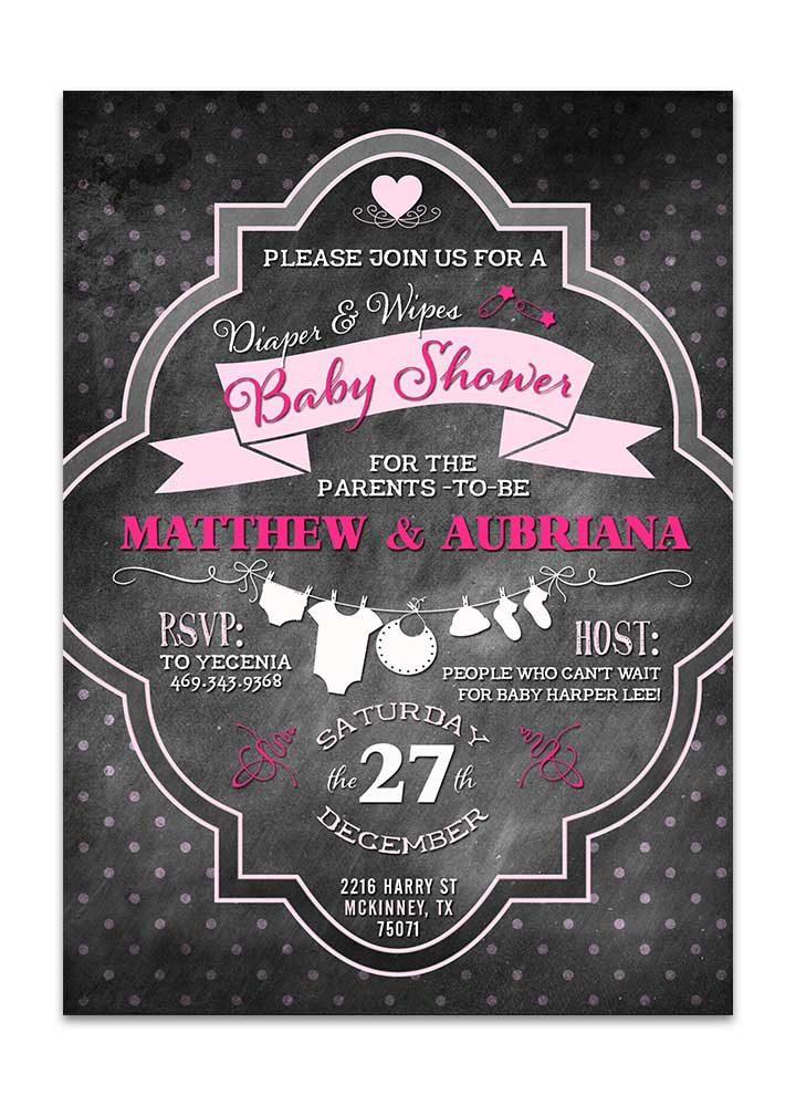chalkboard diapers and wipes pink baby shower invitation