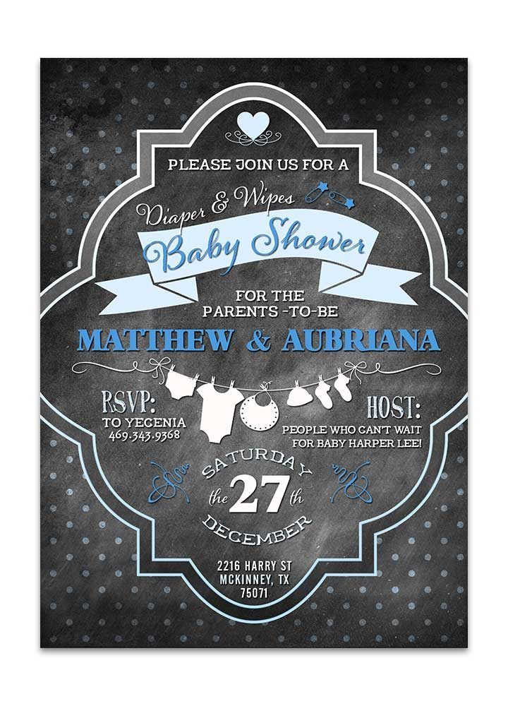 Chalkboard diapers and wipes blue baby shower invitation