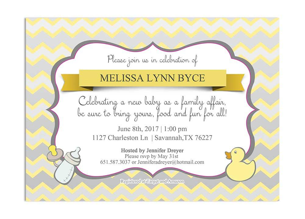 yellow and gray chevron gender netural baby shower invitation