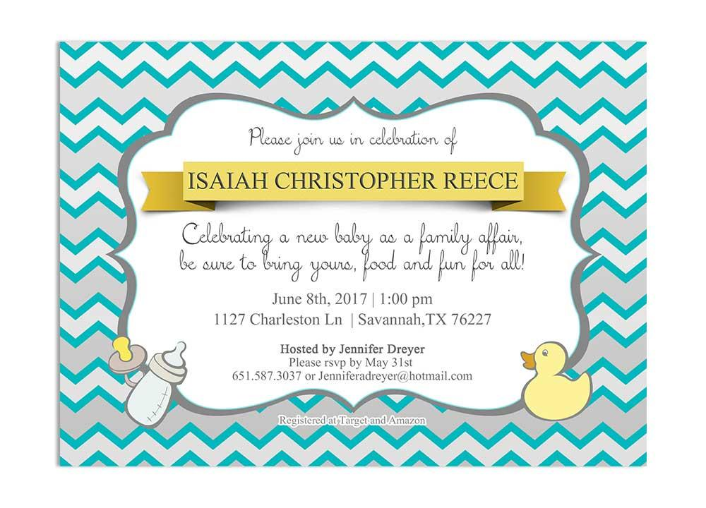 blue and yellow chevron ducky baby shower invitation