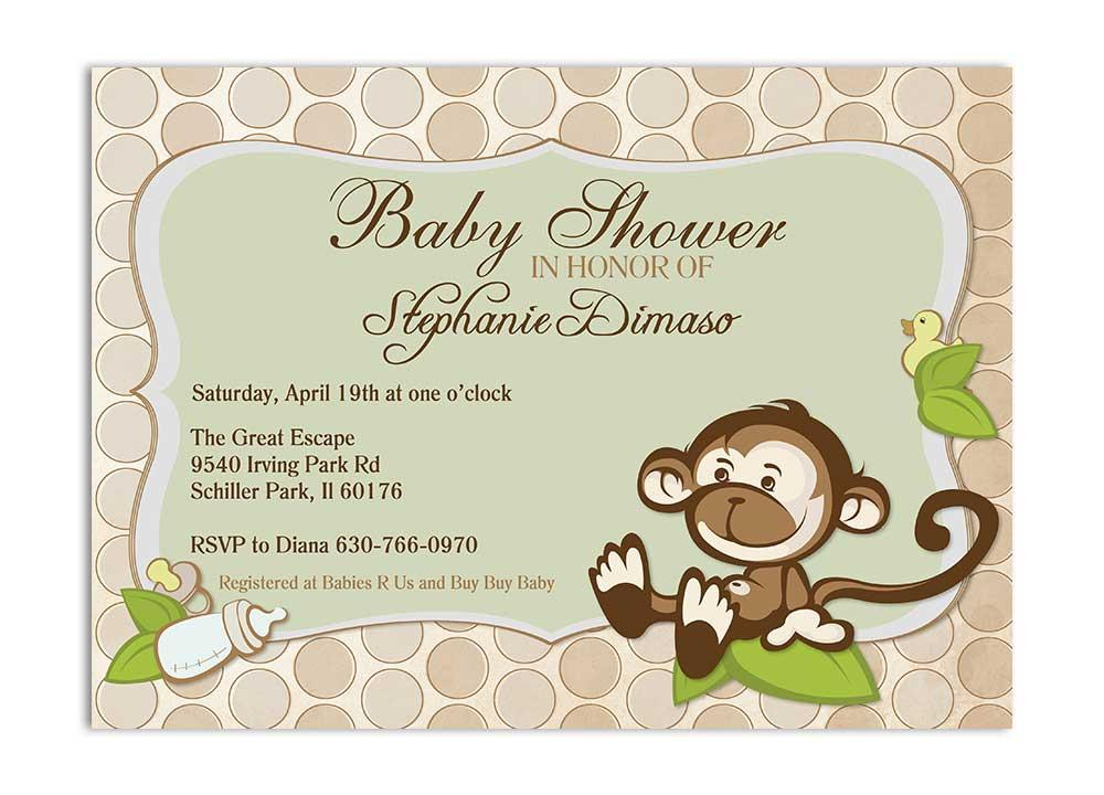 Gender neutral green monkey bridal shower invitation with dots