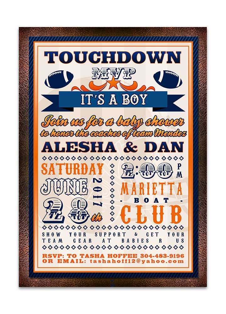Football themed baby shower invitation