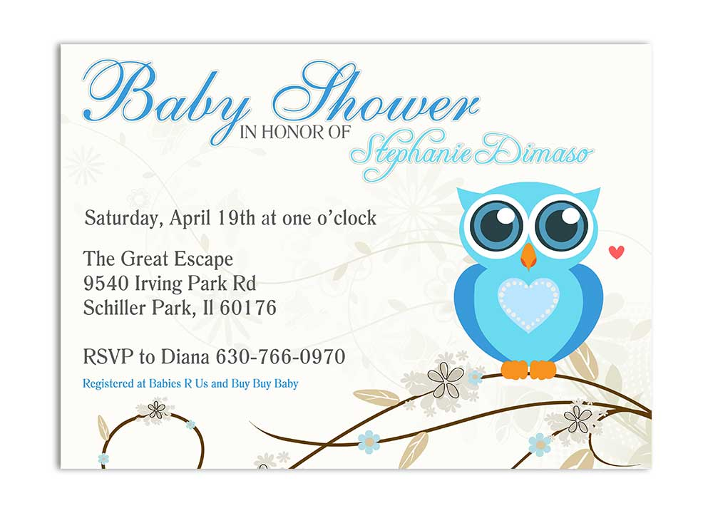 blue owl whimisical baby shower invitation