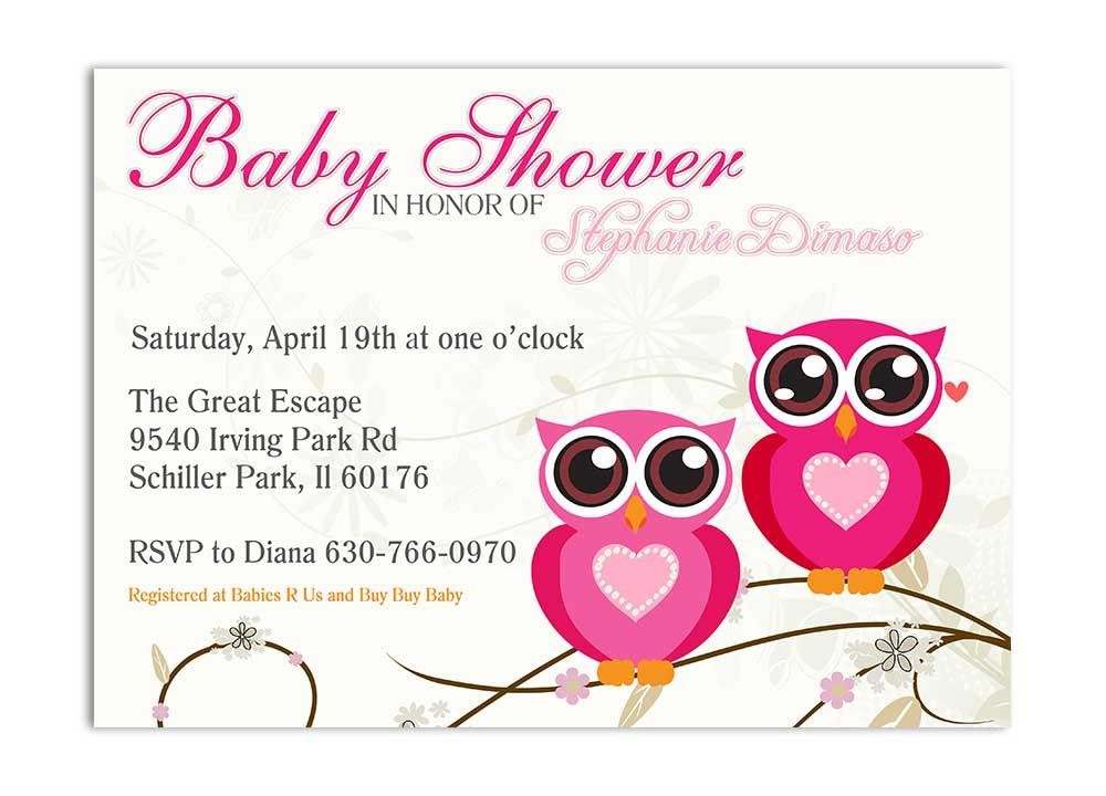 Twin Owls Baby Shower Invitation - Pink - Odd Lot Paperie