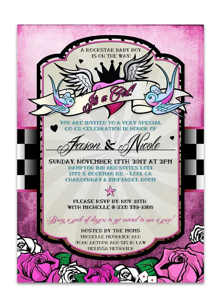 Girl rockabilly baby shower invite with checkered background