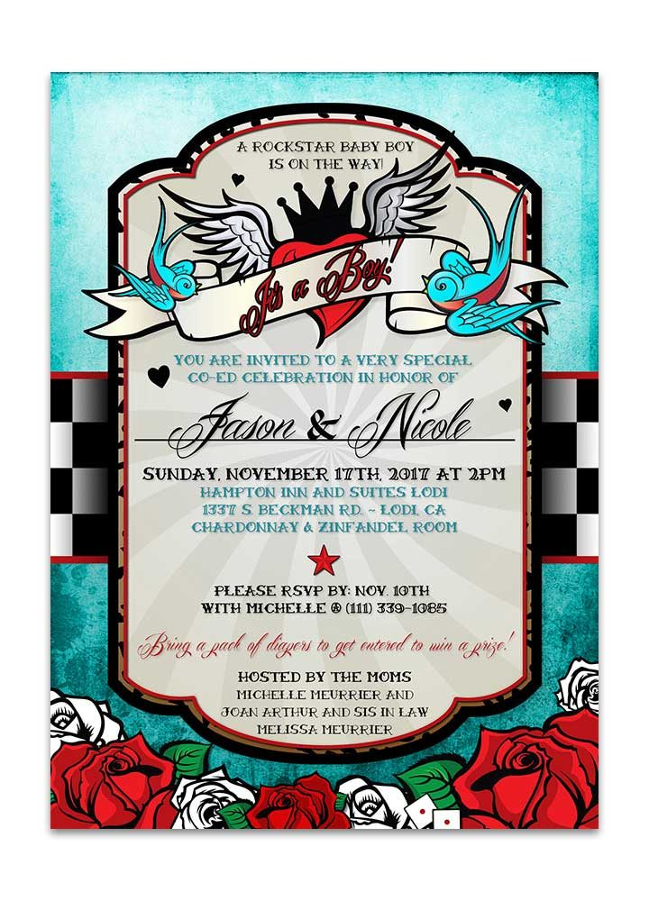 Boy rockabilly baby shower invite with checkered background