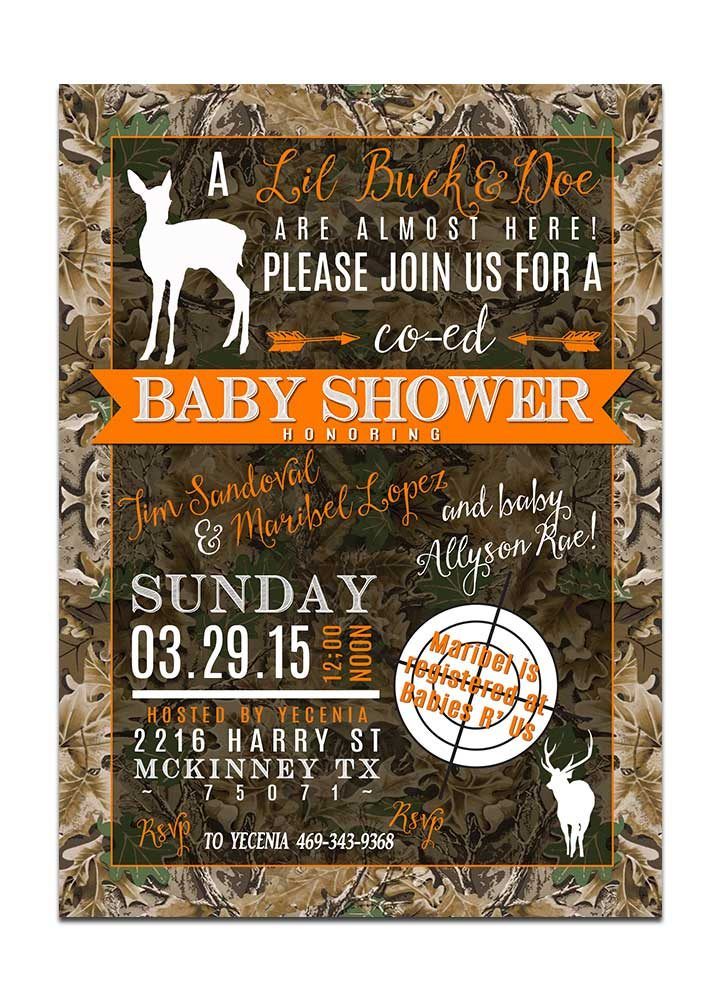 Camo deer gender neutral baby shower invitation