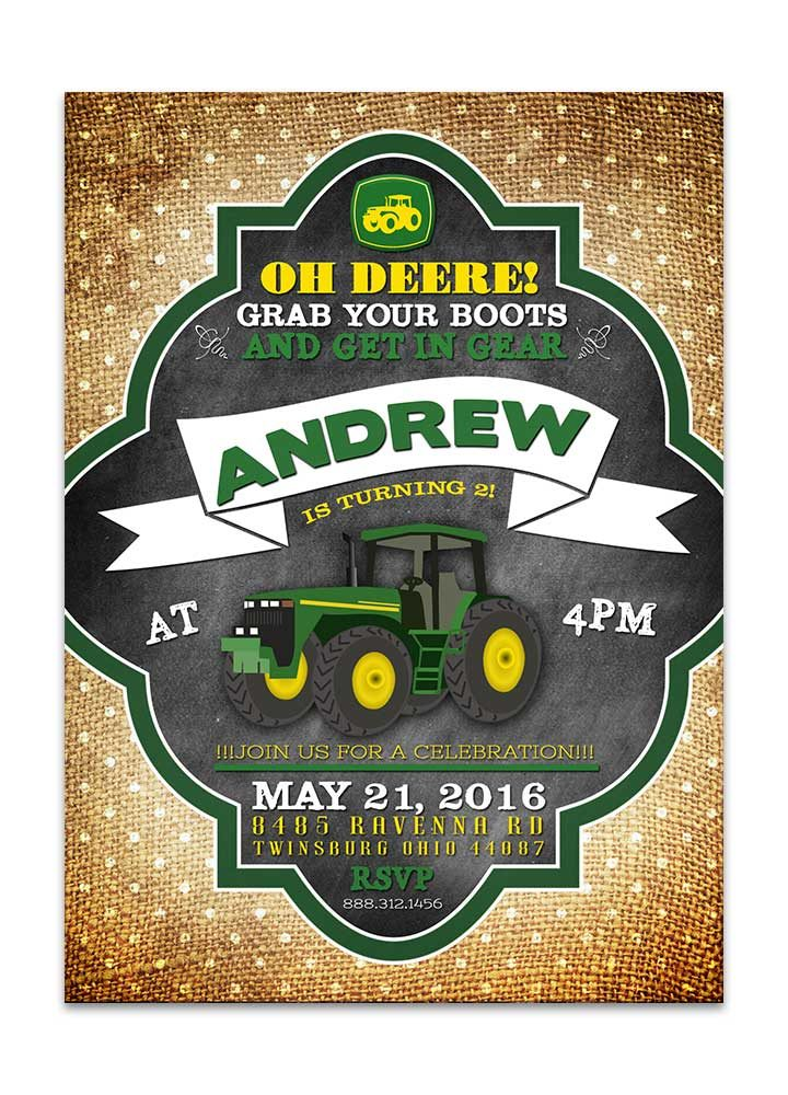 John Deere inspired tractor birthday invitation