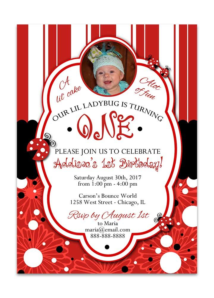 Striped and dots lady bug birthday invitation with photo