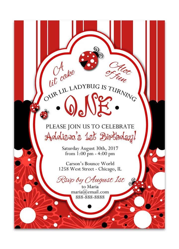 striped lady bug birthday invitaion dots and flowers