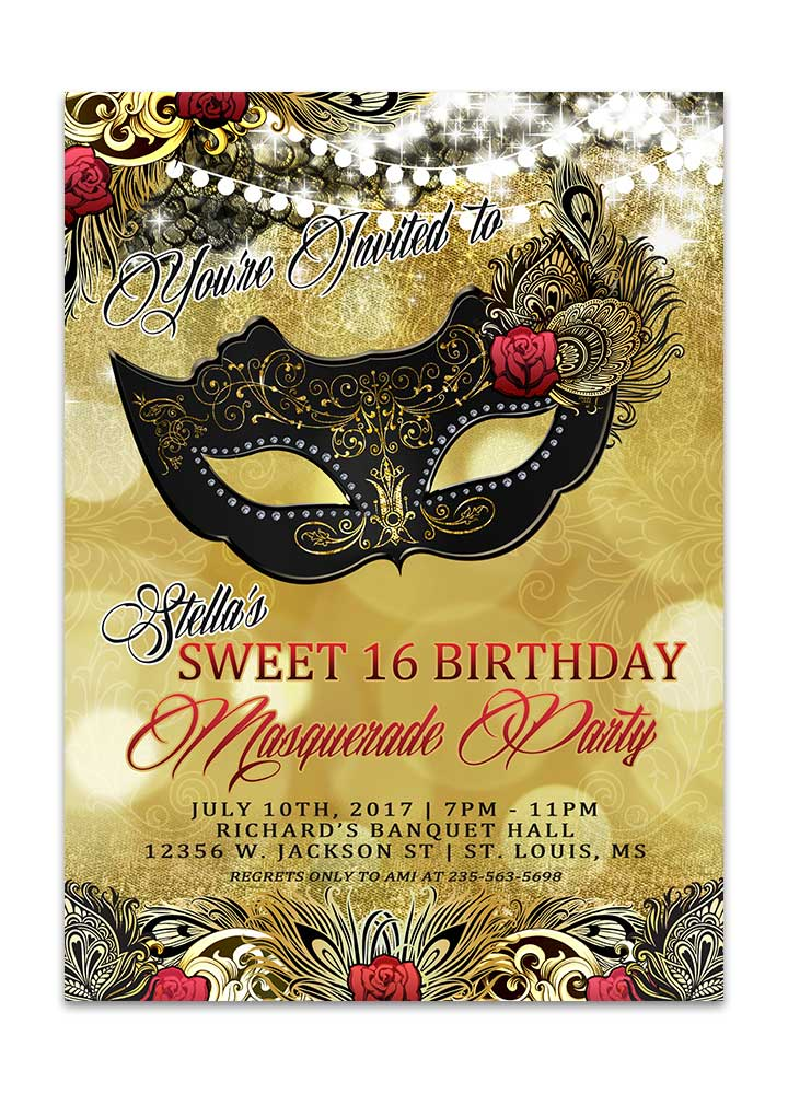 black and gold masquerade birthday party invitation