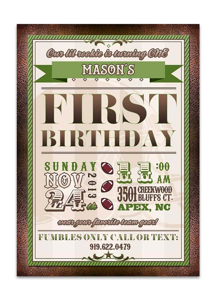 Green and brown football birthday party invite