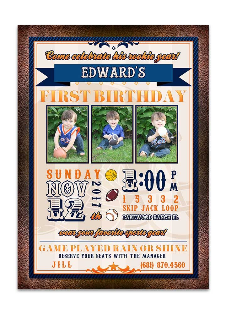 Blue and brown football birthday party invite with photo
