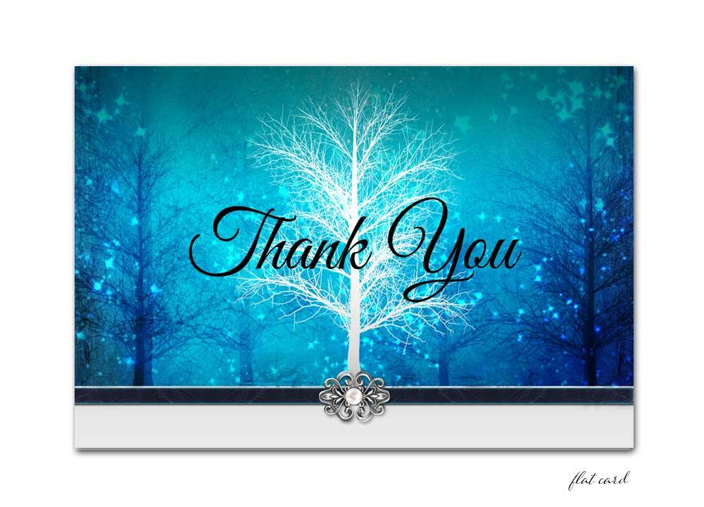 Blue Winter Wonderland Flat Thank You Card