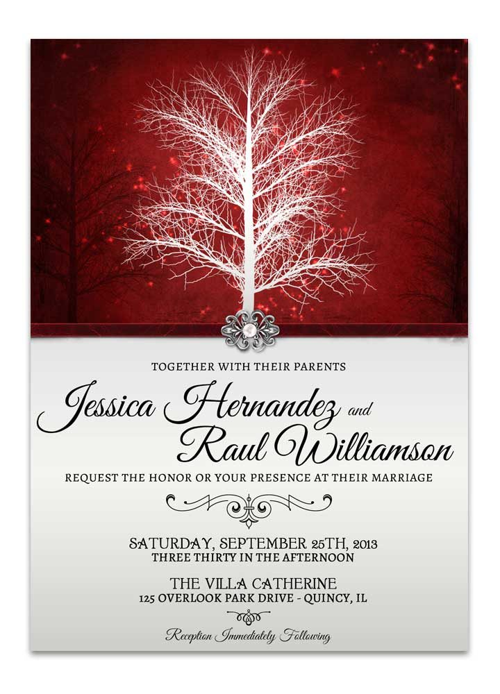 Winter Wonderland Wedding Invitation- Red for snow weddings