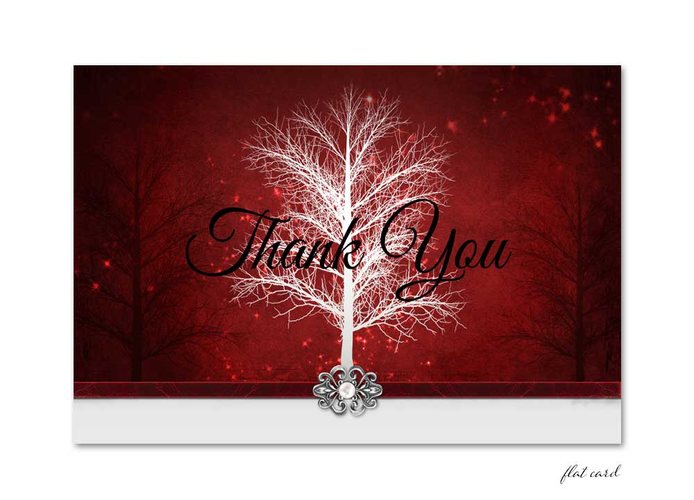 Red Winter Wonderland Flat Thank You Card