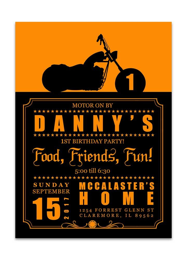 Orange and black biker birthday invitation