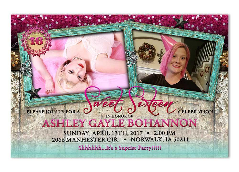 Sweet 16 Glam Birthday Invitation with 2 Photos
