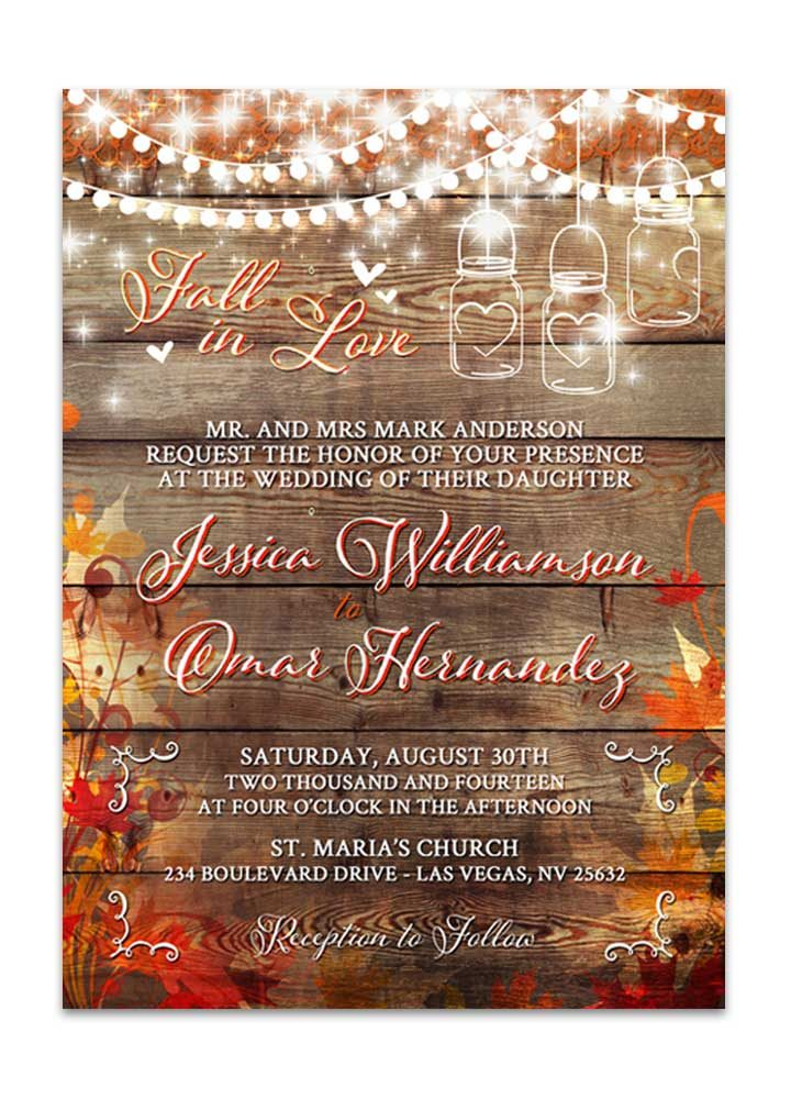 Fall Leaves with mason jar and lights wedding invitation