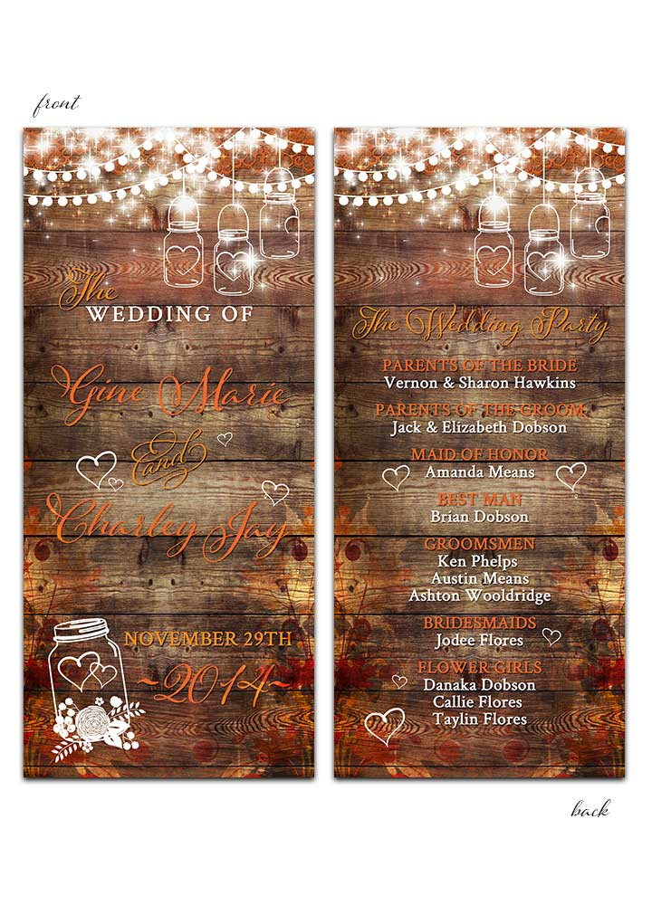 Fall leaves with mason jar and lights wedding program