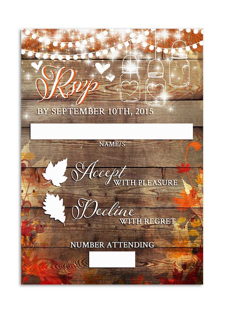Fall leaves with mason jar and hanging lights rsvp card