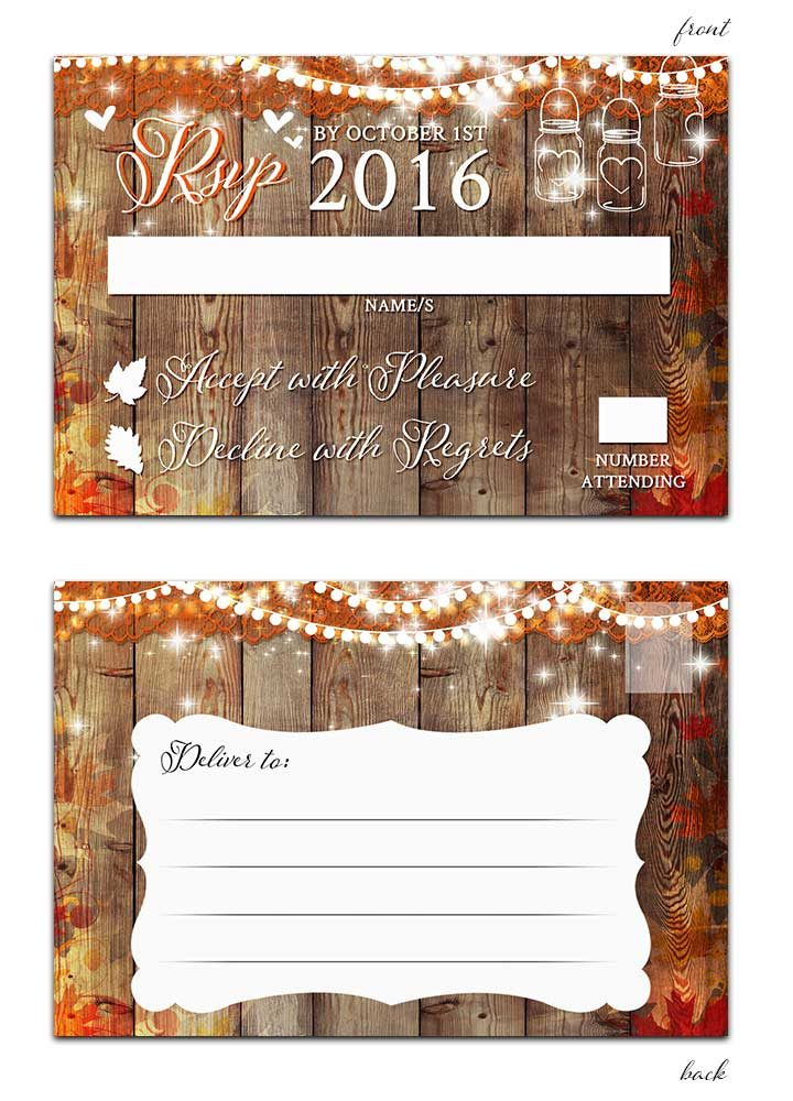 Fall leaves with mason jar and hanging lights rsvp postcard