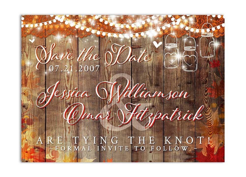 Fall leaves wiht mason jar and hanging lights save the date card