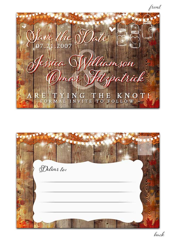 Fall leaves with mason jar and hanging lights save the date postcard