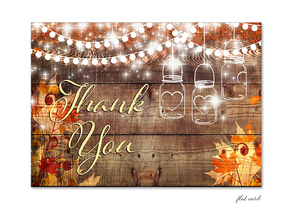Fall leaves with Mason Jar and lights flat thank you card