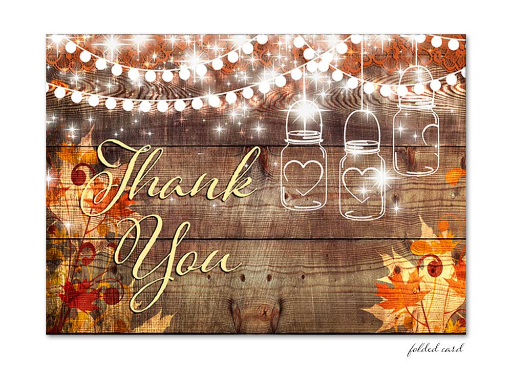 Fall Leaves Mason Jar with Lights Folded Thank You Card