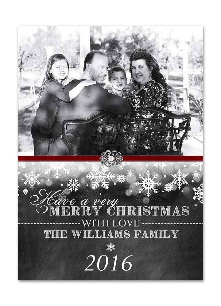 Chalkboard Snowflake Christmas Card with Photo