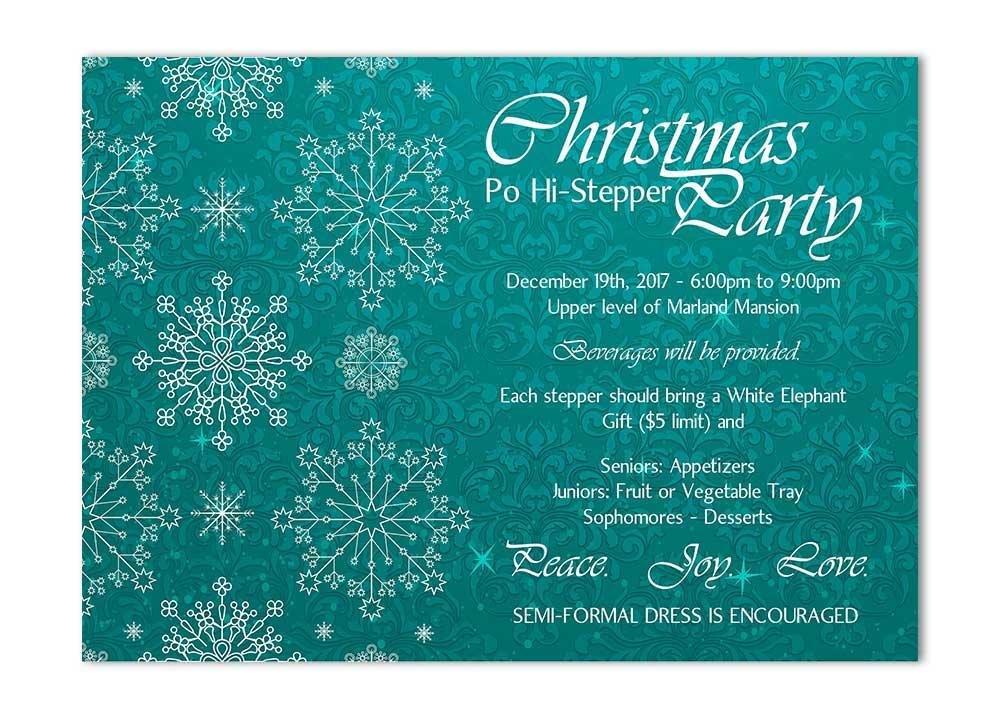 Teal Snowflake Christmas Card with Flourishes