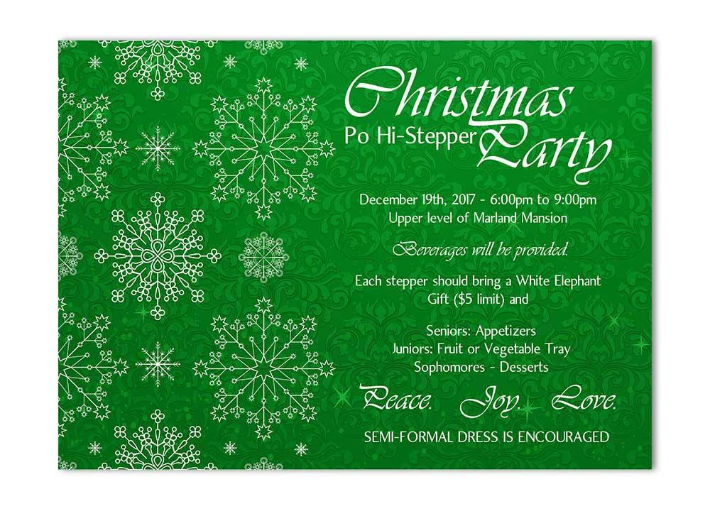 Green Snowflake Christmas Card with Flourishes
