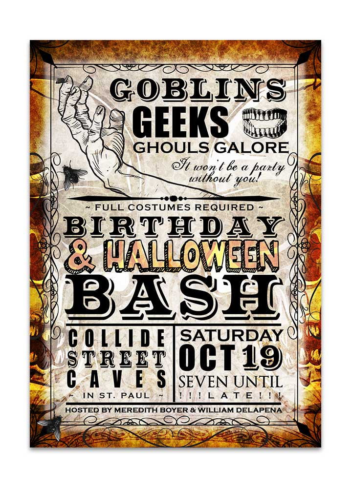 Goblins and Geeks Halloween Party Invitation
