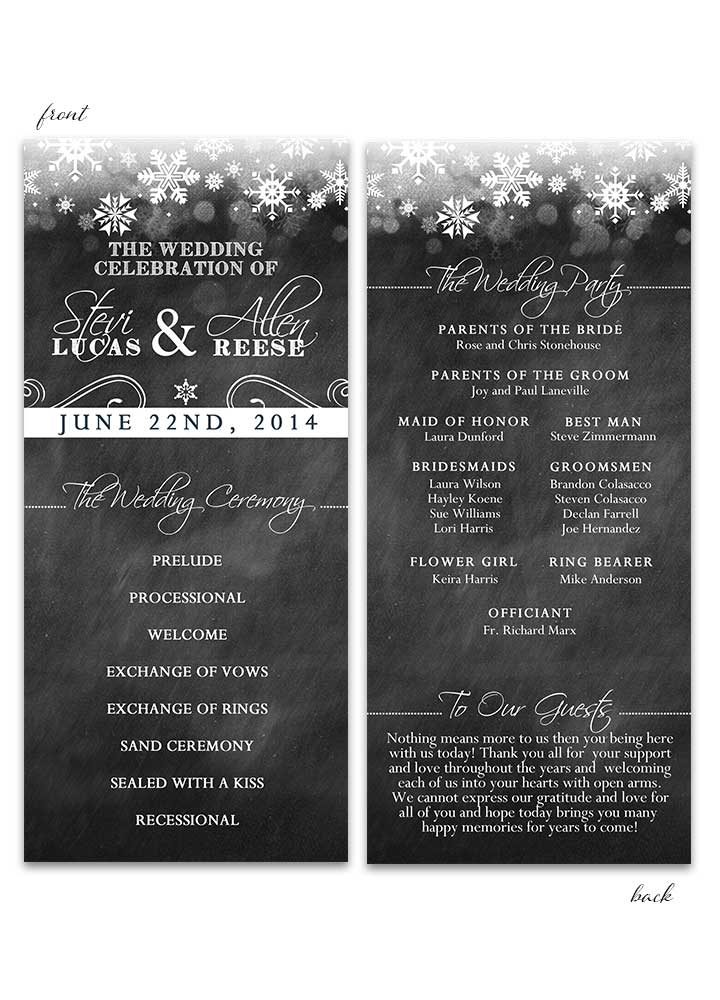 Winter Chalkboard Wedding Program