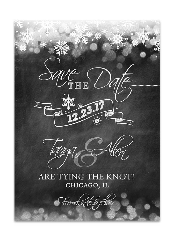 Winter Chalkboard Save the Date Card