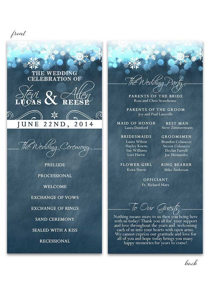Blue Chalkboard Winter Wedding Program