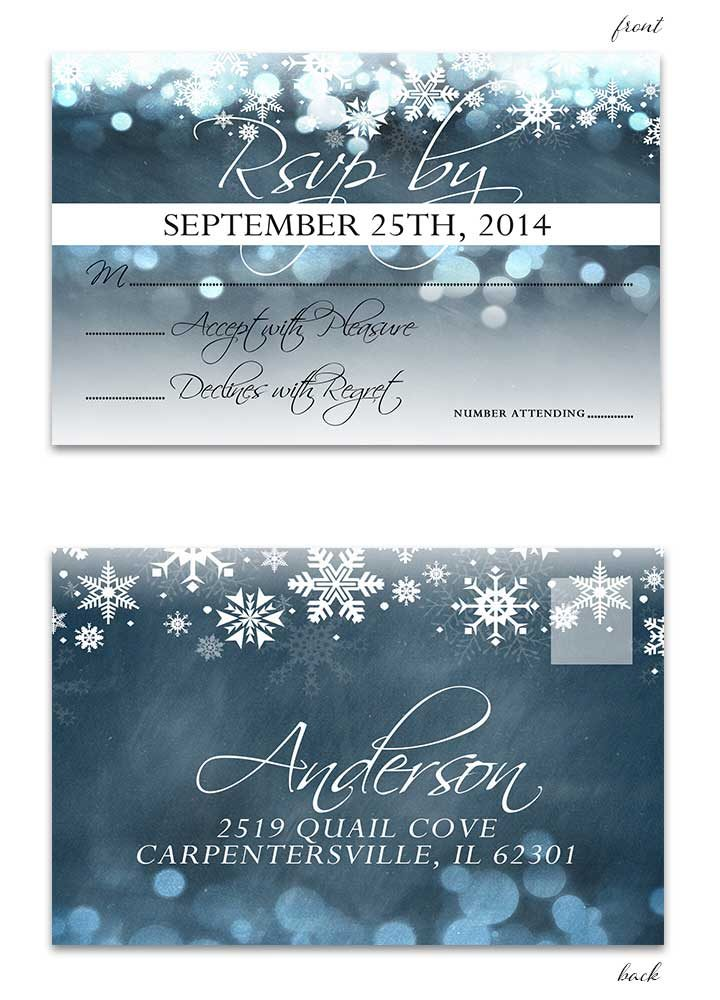 Blue Chalkboard Winter RSVP Postcard