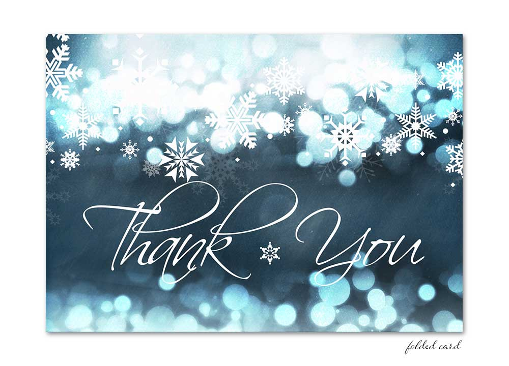 Blue Chalkboard Winter Snowflake Folded Thank You Card