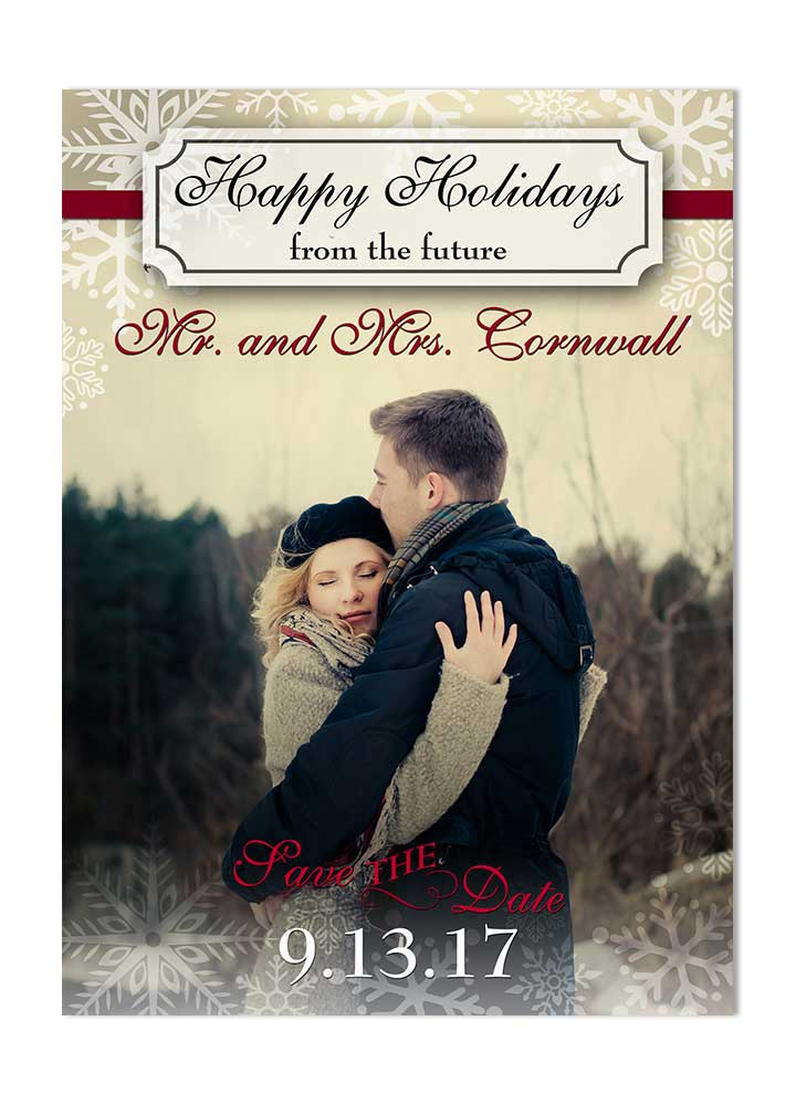 Festive Holiday Save the Date Postcard