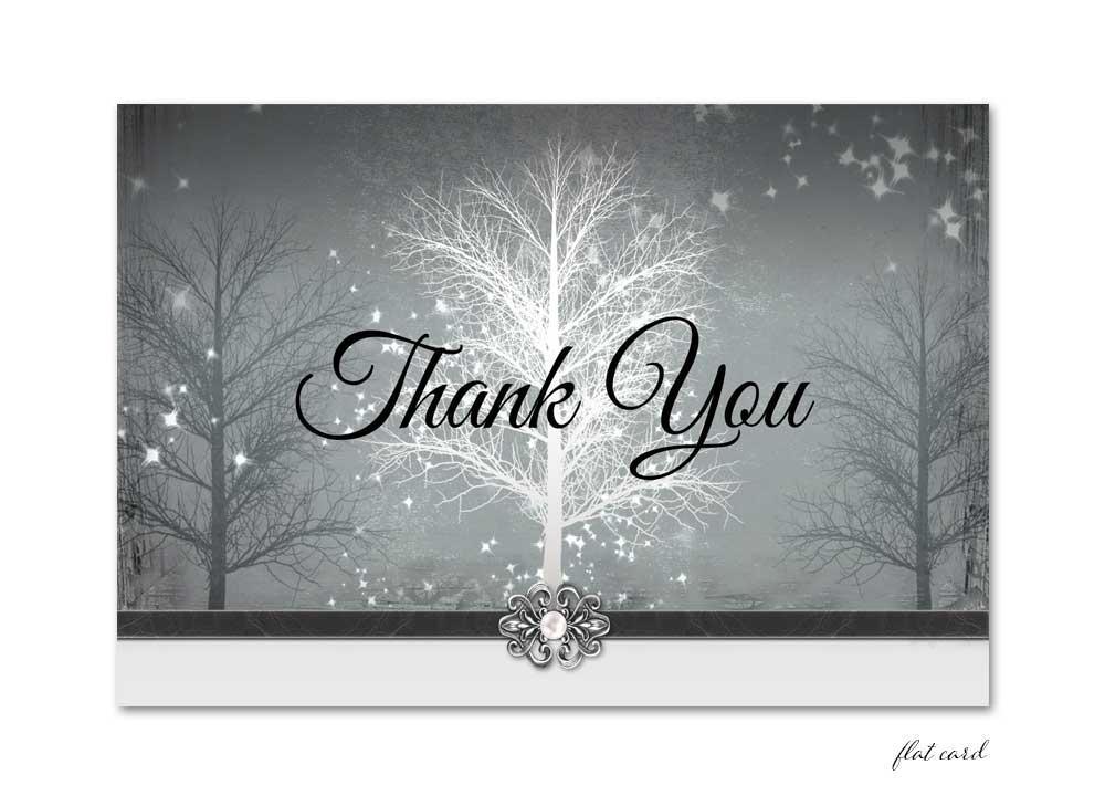 Grey Winter Wonderland Flat Thank You Card