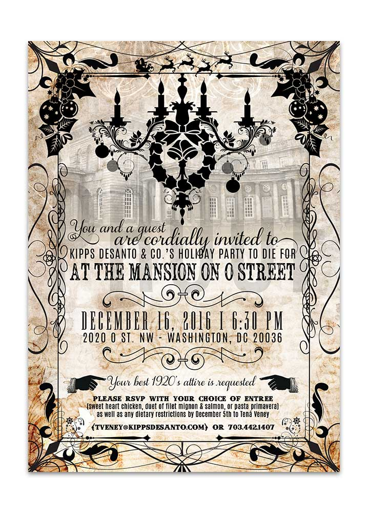 Murder Mystery Holiday Dinner Invitation