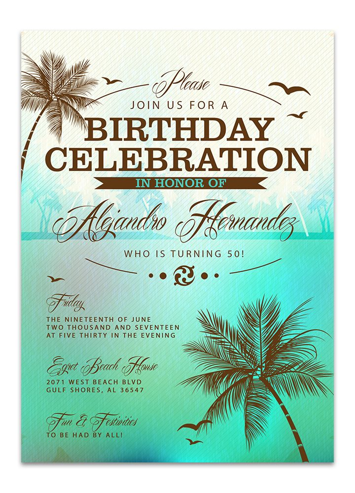 Beach Birthday Invitation - Green