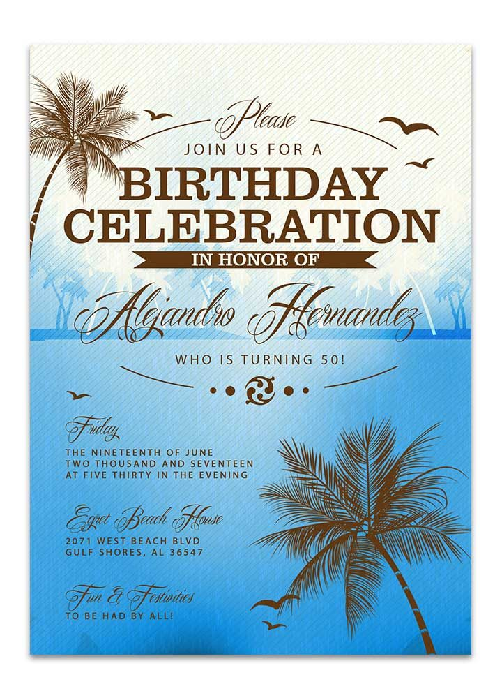 Beach Birthday Invitation - Blue