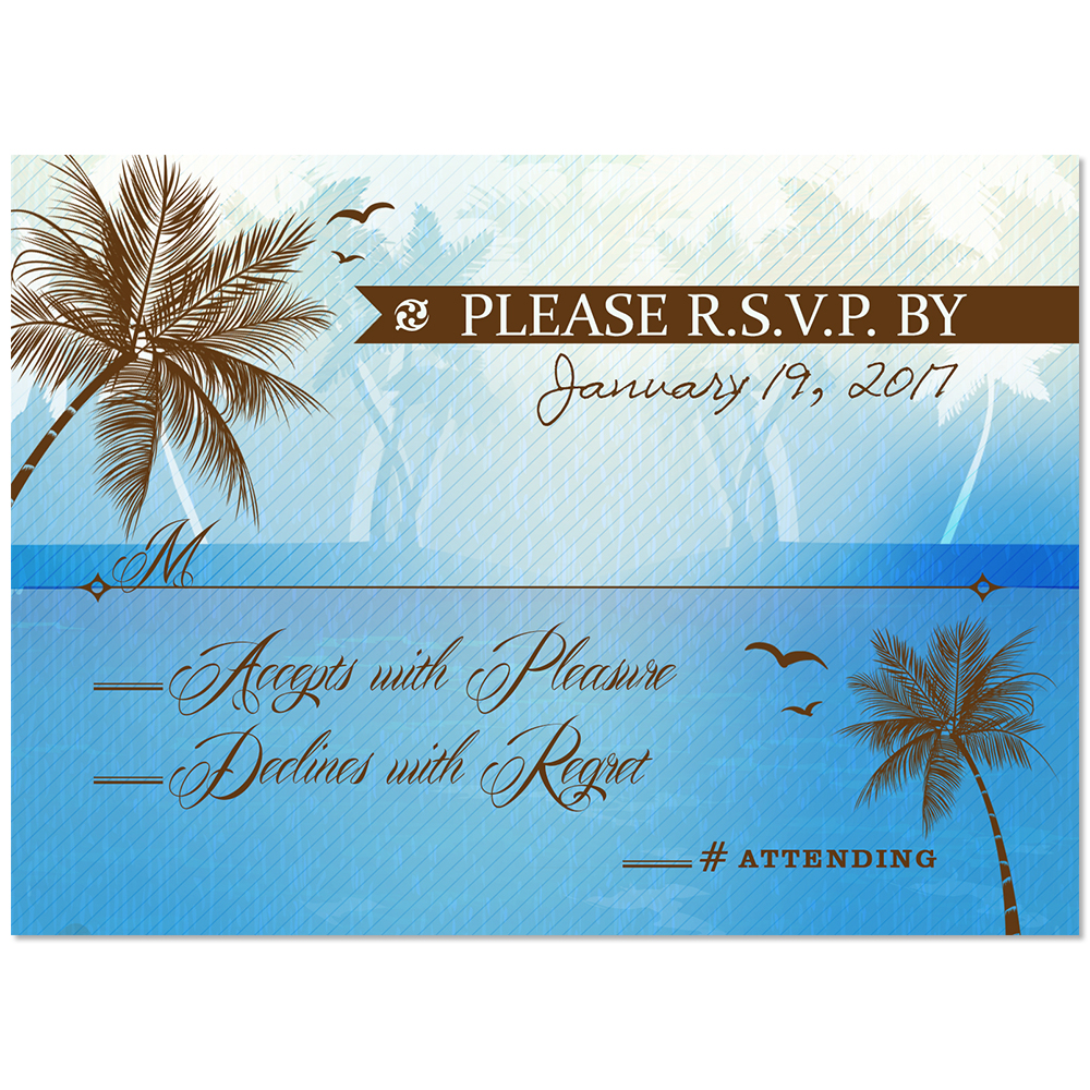 Beach Palm Tree RSVP Card Blue