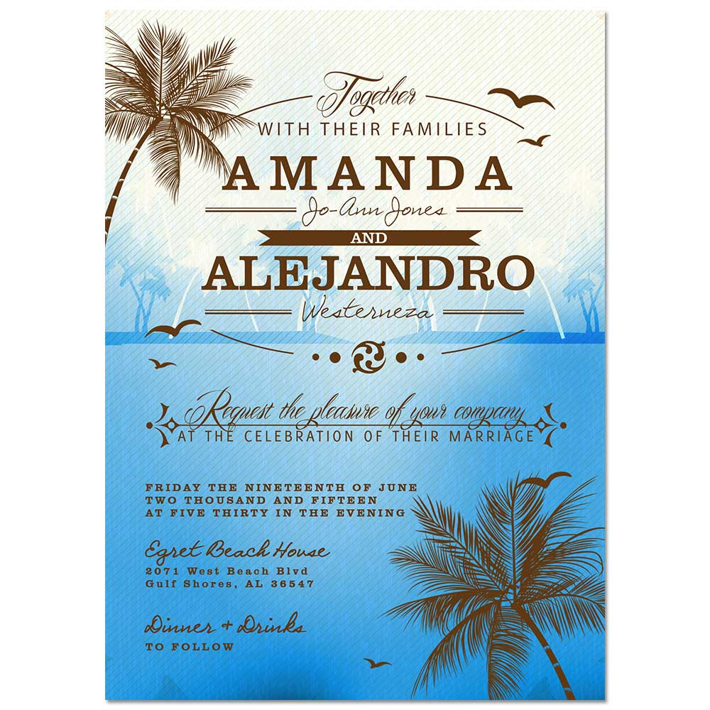 Beach Wedding Invitation Blue