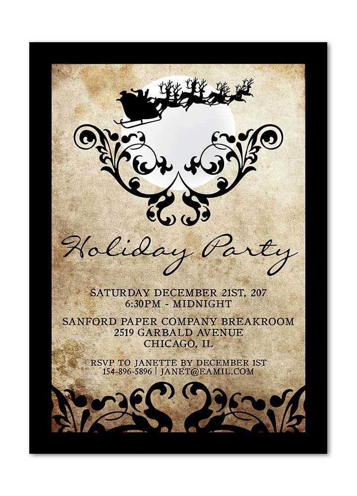 Flying Santa Vintage Holiday Party Invitation with Flourishes